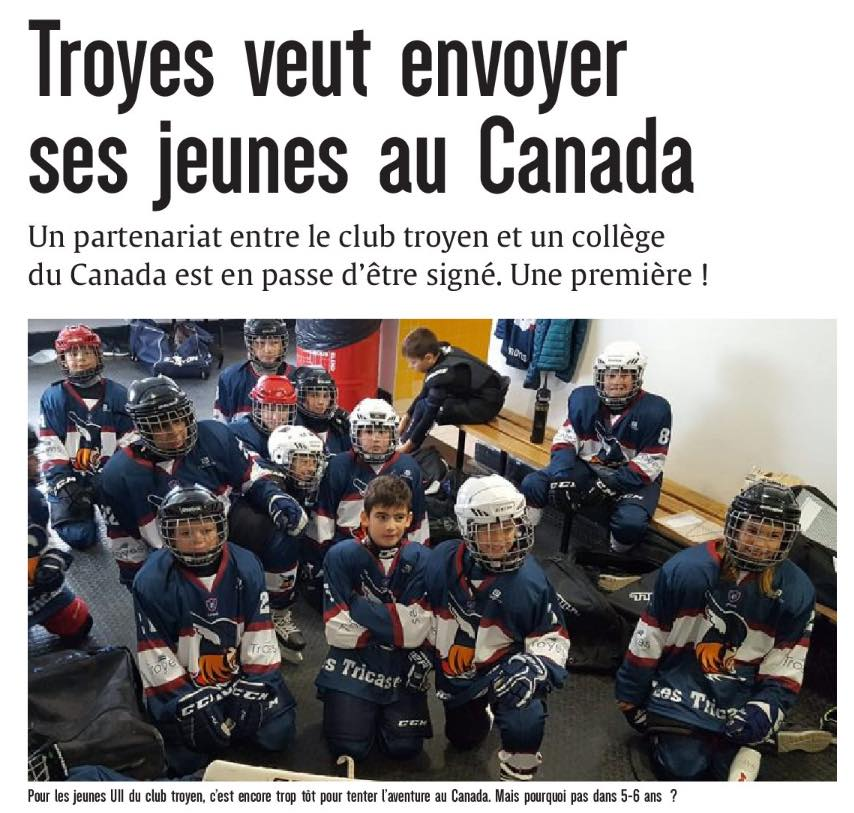 Club : partenariat Cégep de Thetford / Troyes Hockey Club, on en parle